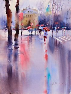"""culturenlifestyle: """" Expressive Cityscape Watercolor Paintings by Viktoria Prischedko German artist Viktoria Prischedko was born and raised in Moldova. The awarded and notable watercolor artist has. Watercolor Artists, Watercolor Landscape, Watercolor And Ink, Watercolour Paintings, Watercolors, Landscape Drawings, Landscape Paintings, Art Drawings, Art Aquarelle"""