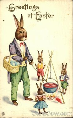 Greetings at Easter With Bunnies