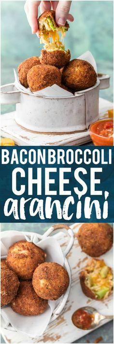 BACON BROCCOLI CHEESE ARANCINI! These cheesy fried rice balls are the ultimate starter to any meal at home. So addicting and delicious!