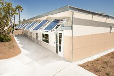 MiraCosta College prefab, zero net energy green college, designed to LEED Gold standards School Site, Community Building, Prefab, Zero, College, Outdoor Decor, Green, Projects, Gold