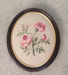 Vintage Pink Roses Needlepoint by GailsVintageGarden on Etsy