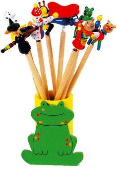"""Bleistifte """"Federfiguren"""". Ohne Köcher, 10-er-Set aus Holz."""