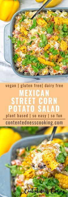 This Mexican Street Corn Potato Salad has all the amazing summer flavors you can ask for. Infused with roasted corn and cumin makes an amazing vegan and gluten free appetizer, lunch or dinner. Also great for potlucks, BBQs, delicious the whole year not on