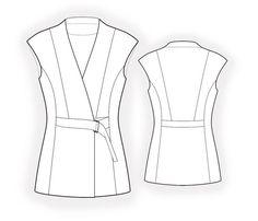 Long Vest  - Patrón de costura #4438 Patrón de costura a medida de Lekala con descarga online gratuita. Entallado, Costura de corte princesa, Waist seam, Waist band, Botonadura, Belt, Escote en V, Cuello alto, Cuello smoking, Sin mangas, Sin bolsillos