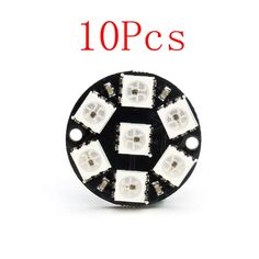 10pcs 16 Bit Ws2812 5050 Rgb Led Full-color Built-in Driving Lights Round Development Board In Pain Diodes