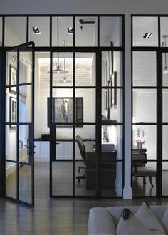 cloison amovible ikea en fer noir et verre, séparer les chambres avec un paravent d'intérieur