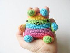 super kawaii crochet bunny rainbow neon