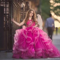 Charming Fuchsia Spaghetti Strap Ball Gown Flower Girls Dresses With Appliques Tiered Bottom Ruffles Child Pageant Dress Kid'S Prom Gowns Gold Flower Girl Dress Green Flower Girl Dresses From Wevens, $106.68| DHgate.Com