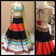 Color block lehenga by MischB Couture Indian Bridal Wear, Indian Wedding Outfits, Indian Wear, Indian Outfits, Western Outfits, Indian Weddings, Indian Style, Desi Clothes, Indian Clothes
