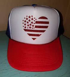 6379d012f74ceb American Flag Heart Trucker Hat Snapback Hat Custom Trucker Hat USA Trucker  Hat 4th of July Trucker Hat Patriotic Hat Red White and Blue