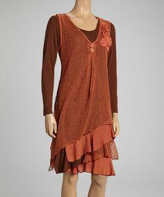 Look at this #zulilyfind! Rust Rosette Linen-Blend Layered Dress - Women by Pretty Angel #zulilyfinds