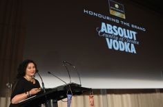 """It is for this diversity in unity and """"Absolut"""" creativity of the brand that the founders of Pentawards, Jean Jacques and Brigitte Evrard, have decided to give a Special Pentawards to Absolut Vodka. This trophy was awarded during the 7th Pentawards Trophy Ceremony on the 21st September 2013 in Barcelona, to Anna Kamjou, Global Director Design Strategy at The Absolut Company."""