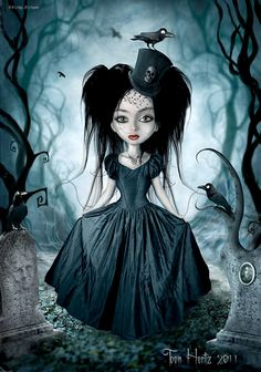 A look at 25 examples of the gothic art of Toon Hertz. A Belgian born artist who combines photography and illustration in Photoshop for bewitching portraits Dark Gothic Art, Dark Art, Pastel Goth Anime, Fantasy Kunst, Fantasy Art, Gothic Kunst, Aquarell Tattoos, Arte Obscura, Goth Art