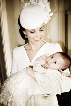 Catherine, Duchess of Cambridge with her daughter, Princess Charlotte Elizabeth Diana, on her christening day, July 5, 2015.