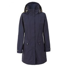 Buy Ladies Rainy Day Jacket Ink by Trespass from our Ladies range - Ink, Waterproof Jackets, Boxing Day Sale 2019 - @ Great Outdoors Raincoats For Women, Jackets For Women, Clothes For Women, Waterproof Hooded Jacket, Outdoor Fashion, Waterproof Fabric, Padded Jacket, Navy Women, Tops