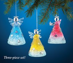 Lighted Angel Glass Tree Ornaments - Set of 3