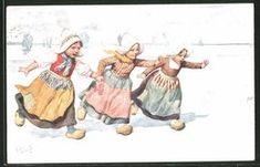 CPA Illustrateur Karl Feiertag: Kleine Holländerinnen Wagen Eine Rutschpartie Im Winter - Feiertag, Karl