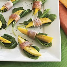 Holiday Appetizers Under 100 Calories: Prosciutto-Wrapped Mango Bites | MyRecipes.com