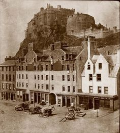 The Grassmarket and Castle, Edinburgh. Photograph by Thomas Keith, circa 1860 Old Town Edinburgh, Visit Edinburgh, Edinburgh Castle, Edinburgh Scotland, Scotland Travel, Old Pictures, Old Photos, Vintage Pictures, Scottish Castles