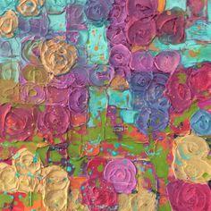 "For Sale: Hollyhock Abstraction by Michael Bittle | $300 | 16""w 16""h | Original Art | https://www.vangoart.co/michael-bittle/hollyhock-abstraction @VangoArt"