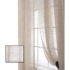 Shop for Exclusive Fabrics Linen Open Weave Natural Sheer Curtain Panel. Get free delivery On EVERYTHING* Overstock - Your Online Home Decor Outlet Store! Large Window Curtains, Half Curtains, Sheer Linen Curtains, Sheer Curtain Panels, Hanging Curtains, Panel Curtains, Curtains Living, Natural Curtains, Custom Drapes