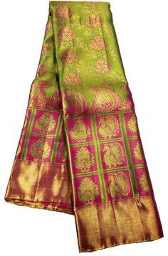 Green Handloom Kanjeevaram Silk   Saree