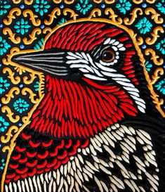 red-breasted sapsucker - by Woodcut artist extraordinaire Lisa Brawn