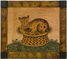 cat in basket _ Often the frames are as beautiful as the artwork...I love when they both compliment each other...enhances both!