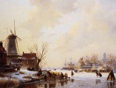 Andreas Schelfhout - Winterlandschap met een markt op het ijs.