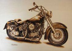 moto cuadro pirograbado tabla de madera pirograbado a mano