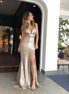 long prom dresses - Mermaid Deep VNeck Long Champagne Prom Dress with Split Sequin Evening Dress Glitter Prom Dresses, Sequin Evening Dresses, Sexy Evening Dress, V Neck Prom Dresses, A Line Prom Dresses, Homecoming Dresses, Party Dresses, Formal Dresses, Dress Prom