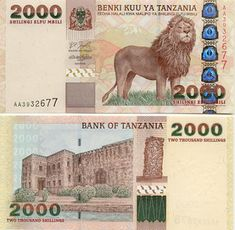 "Reverse: Old Fort in Stone Town in Zanzibar; Ujamaa (Makonde) carving ""Tree of Life"" (People Pole); Watermark: Head of a giraffe. Money Template, Money Worksheets, Money Notes, Valuable Coins, World Thinking Day, World Coins, African Animals, Coin Collecting, Tanzania"