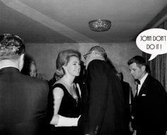 President Johnson leans over to kiss Mrs. Joan Kennedy at the Joseph P. Kennedy Jr. Foundation Dinner in New York City, Feb. 5, 1964.