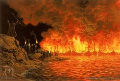 The Burning of the Ships by Ted Nasmith