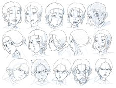 Katara (from Avatar - The Last Airbender): expressions study by Nylak.