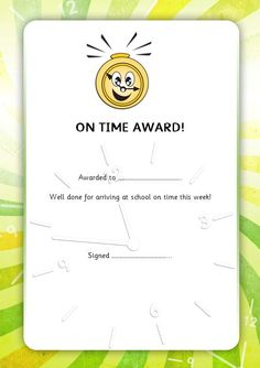 Editable certificate to reward pupils for good punctuality. #teachingresources