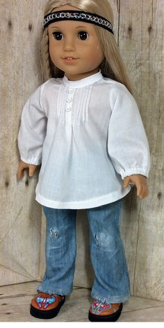 18 inch Doll Clothes American Girl White Pintuck Peasant Blouse and Distressed Denims Outfit for Julie American Girl Outfits, American Girl Doll Julie, My American Girl Doll, American Doll Clothes, Sewing Doll Clothes, Sewing Dolls, Girl Doll Clothes, Doll Clothes Patterns, Ag Dolls