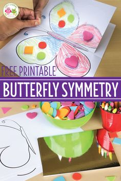 Kindergarten Art Activities, Symmetry Activities, Insect Activities, Art Activities For Toddlers, Preschool Themes, Spring Activities, Spring Art Projects, Cool Art Projects, Insects For Kids