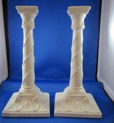 "Vintage Pr. of Royal Worcester 10 1/4"" Tall Column White Candle Sticks"