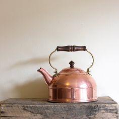 Bright Copper Kettle Vintage Copper Tea Kettle - Paul Revere Revereware 1976.