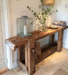 Top 11 carpentry workbenches used as contemporary decorative objects - upcycling möbel - Furniture Vintage Farmhouse Decor, Farmhouse Furniture, Vintage Wood, Rustic Furniture, Rustic Decor, Diy Furniture, Furniture Design, Modern Furniture, Decoupage Furniture