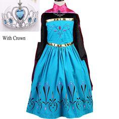 2017 new girls dress Elsa Dress Custom Cosplay Summer Anna Girls Dresses Princess Elsa Costume for Children dress+crown 2piece