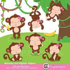 Monitos niñas, changitos niñas digital clipart para uso personal y comercial
