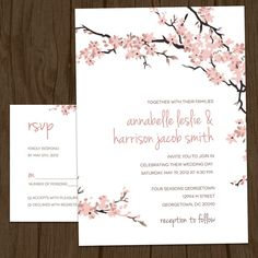 High Quality Cherry Blossoms Modern Wedding Invitation Set By MalloryHopeDesign, $2.95