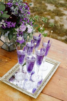 42 Ideas wedding decorations lavender ana rosa for 2019 Wedding Signature Drinks, Signature Cocktail, Purple Wedding Drinks, Purple Signature Drinks, Wedding Ideas Purple, Wedding Candy, Our Wedding, Dream Wedding, Trendy Wedding