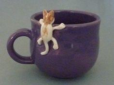 Purple mug with cat