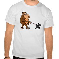 Funny Gorilla Walking Black Poodle Dog Tshirt #gorillas #poodles #dogs #walking #funny #shirts And www.zazzle.com/petspower*