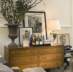 Dresser as bar, lamp, art, and that old black phone