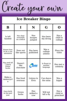 Create your own bingo cards with words, phrases, or pictures. Perfect for ice breakers, events, or classroom use. Super easy in 3 steps. Simply login and create. Icebreaker Activities, Therapy Activities, Bingo Card Creator, Ice Breaker Bingo, People Bingo, Ice Breaker Games For Adults, Bingo Card Generator, Bingo Template