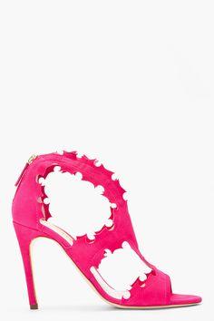 Rupert Sanderson Fuchsia Suede Floria Stilettos Heels for women | SSENSE  $412.00 FAVORITE!